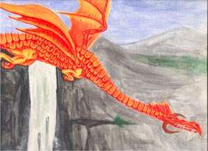Painting of a Red Dragon swooping down near a waterfall.