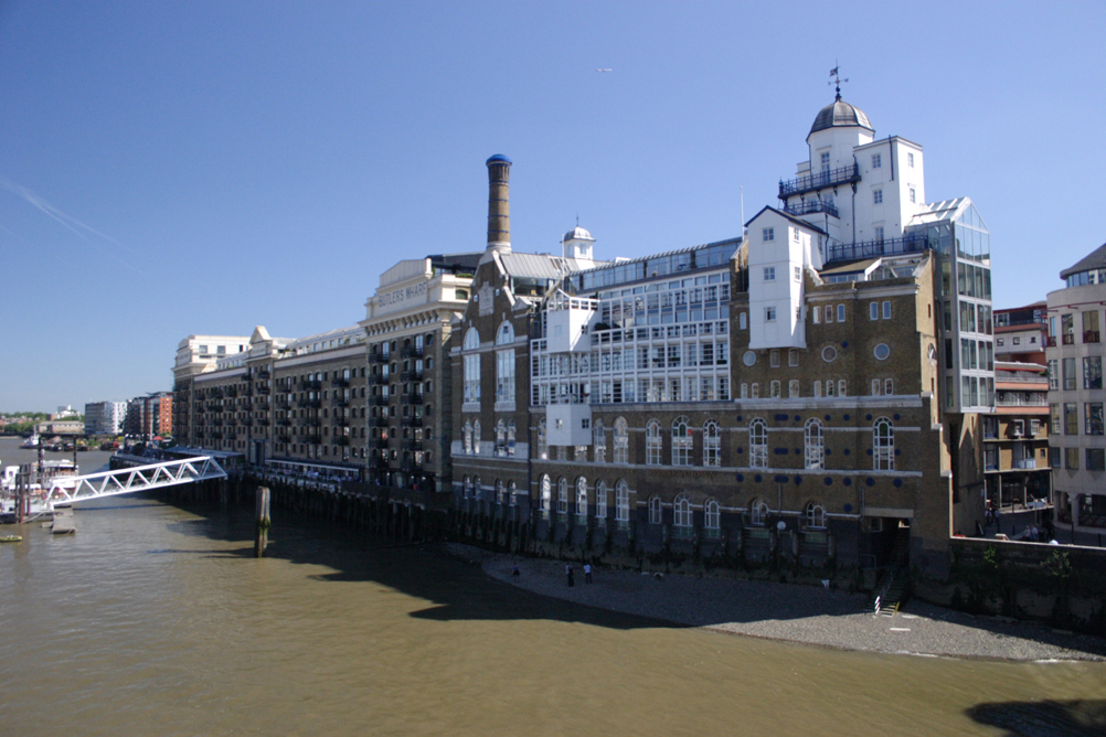 View of south bank of Thames from the southern end of Tower Bridge - looking east.